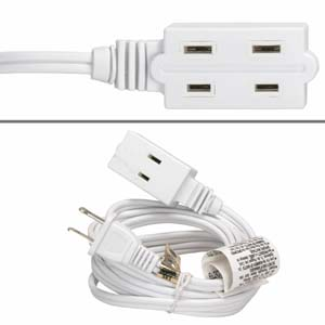 9Ft 3-Outlet Power Extension Cord White 16AWG/2