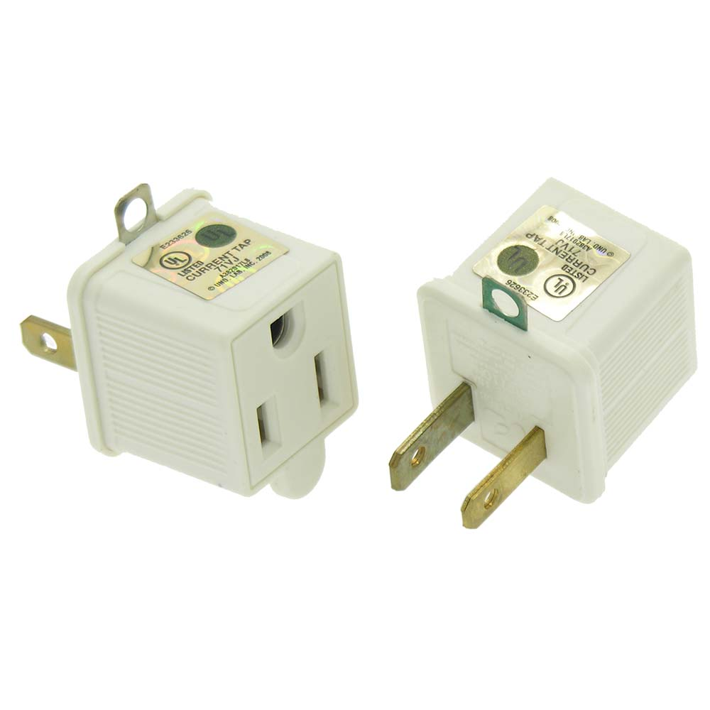 3 Prong to 2 Prong Adapter 125V/15A UL 2pc Pack