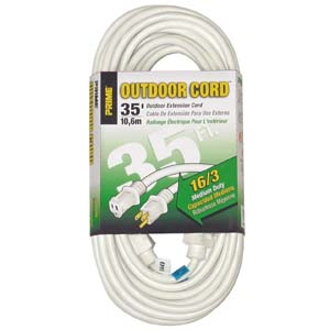 GadKo 35Ft 16/3 White Patio and Deck Extension Cord