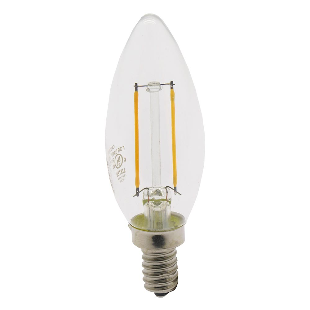 2W LED Filament Candle Bulb 2700K Clear 150LM Dimable E12, L21201