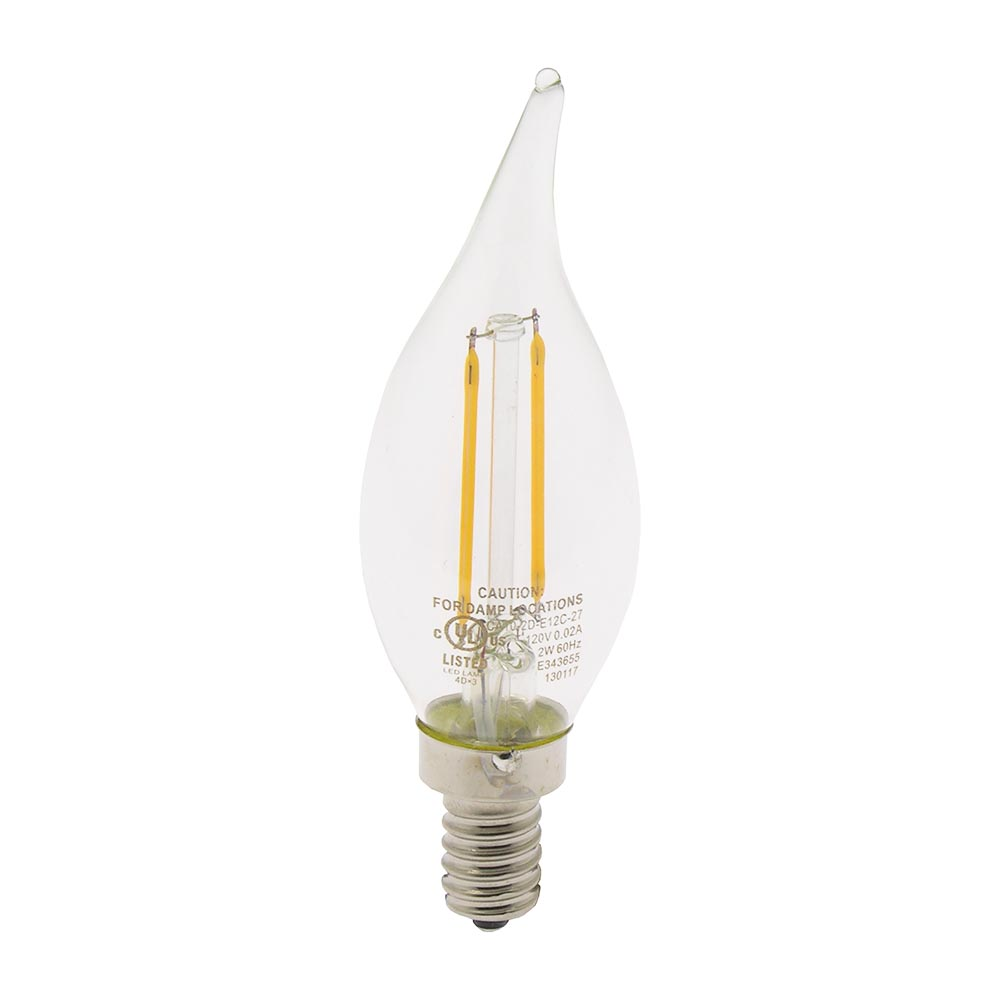2W LED Filament Candle Angular Bulb 2700K Clear 150LM Dimable E12, L21202