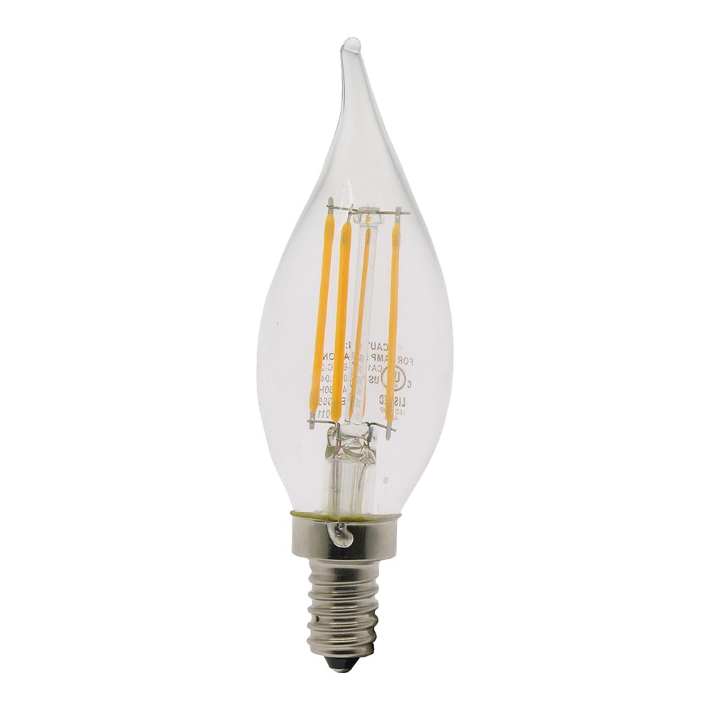 4W LED Filament Candle Angular Bulb 2700K Clear 300LM Dimable E12, L41202