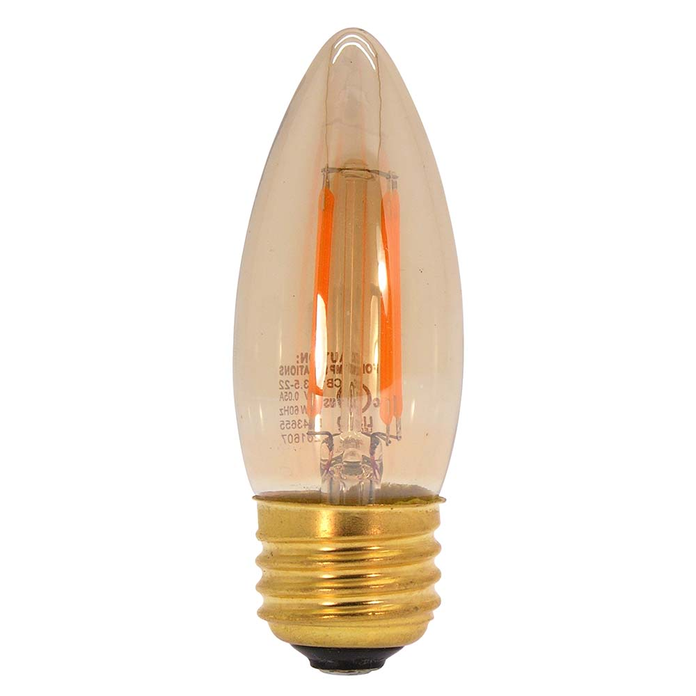 3.5W LED Filament Candelabra Bulb 2200K 300LM Dimable E26
