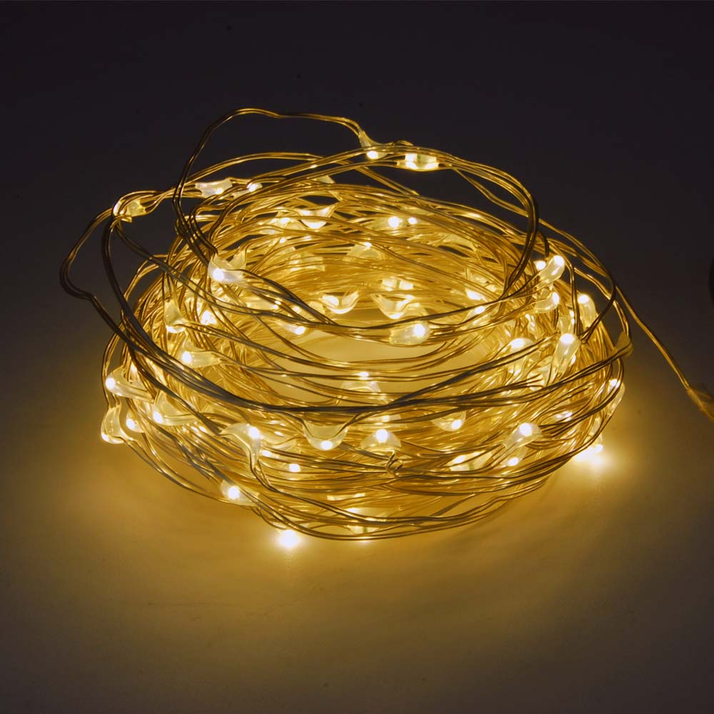 100L Mini LED 10-Meter Warm White Multi-Mode String Light  Battery Powered, Remote