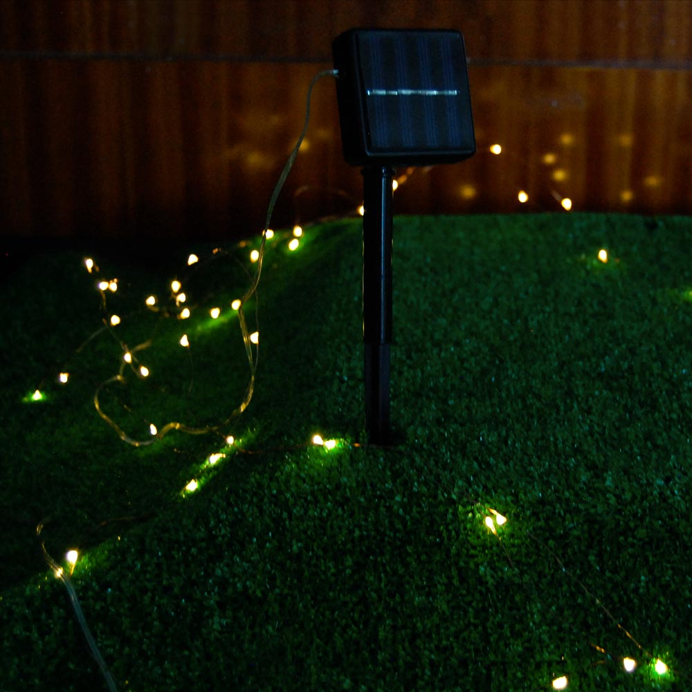 100LED 10-Meter (32Ft)  Warm White 2-Mode Solar String Light