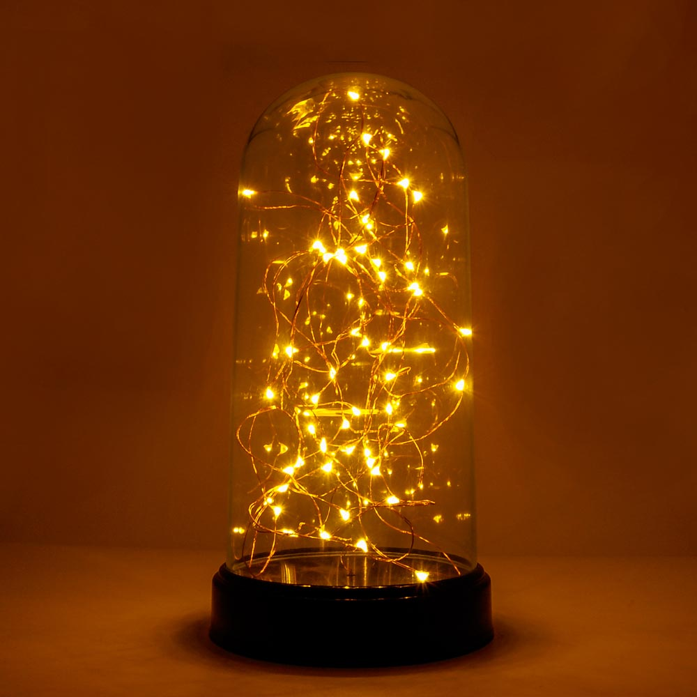 "30L Mini LED Warm White String Light in Dome 9"" High Battery Powered"