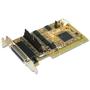 4 Port RS-232 w/ Cash Drawer Interface & DC Jack Low-Profile Universal PCI Card
