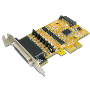 4-port RS-232 PCI Express Serial Low Profile Board with Power Output (SATA Power Socket)