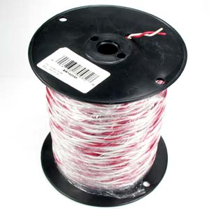 500Ft 18/2 Solid Red/White Bell Wire