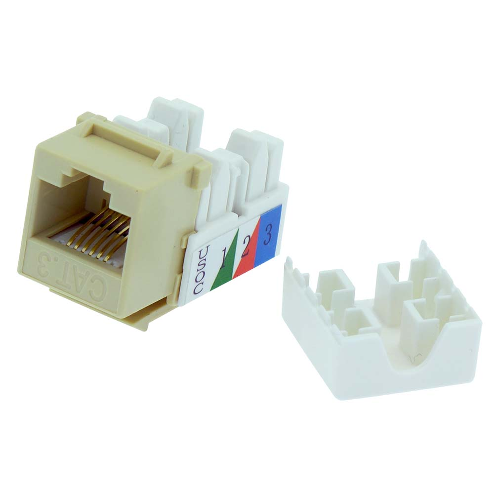 Cat.3 110 Type IDC 90 Degree Unshielded Keystone Jack Ivory