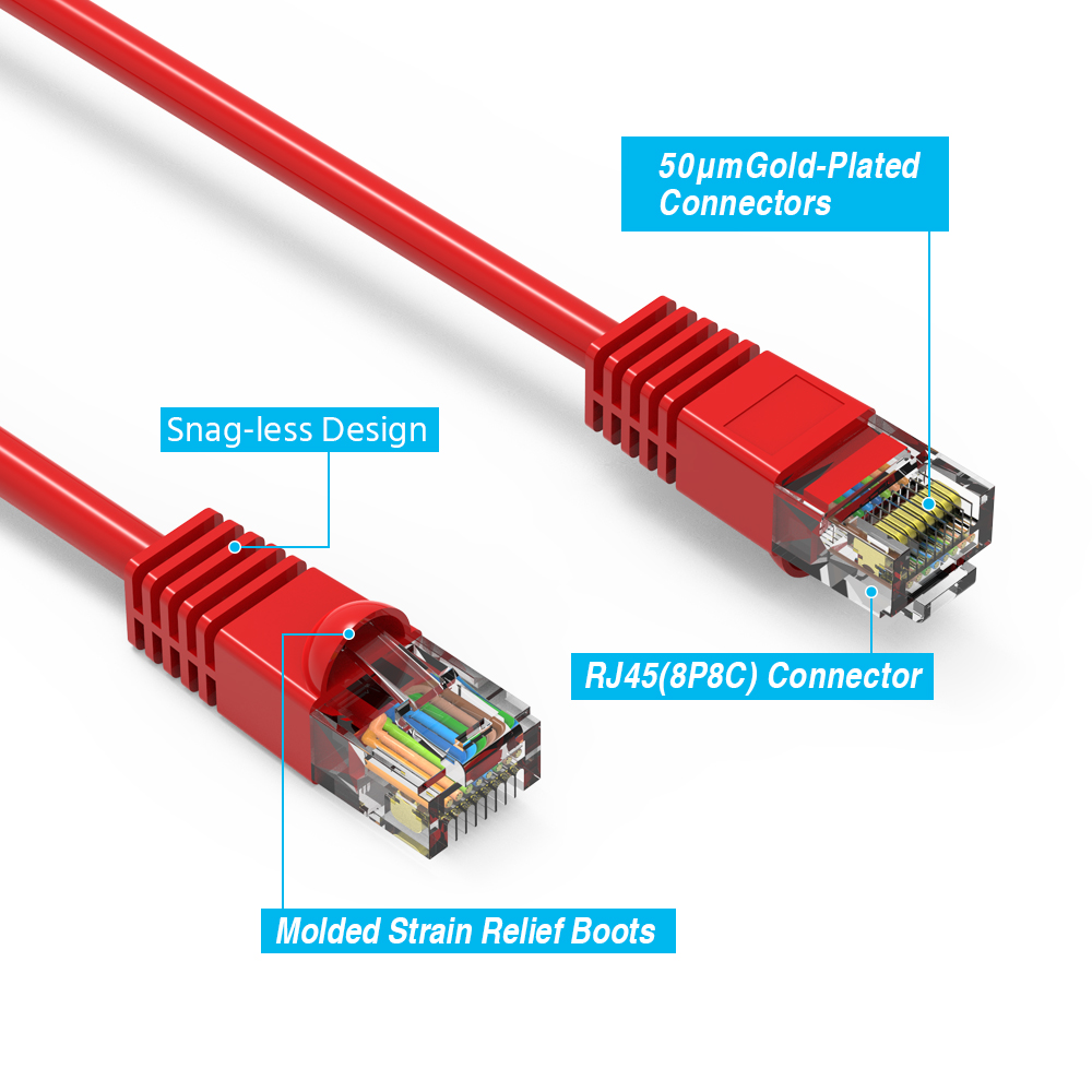 6Ft Cat.5e Molded Snagless Patch Cable Red