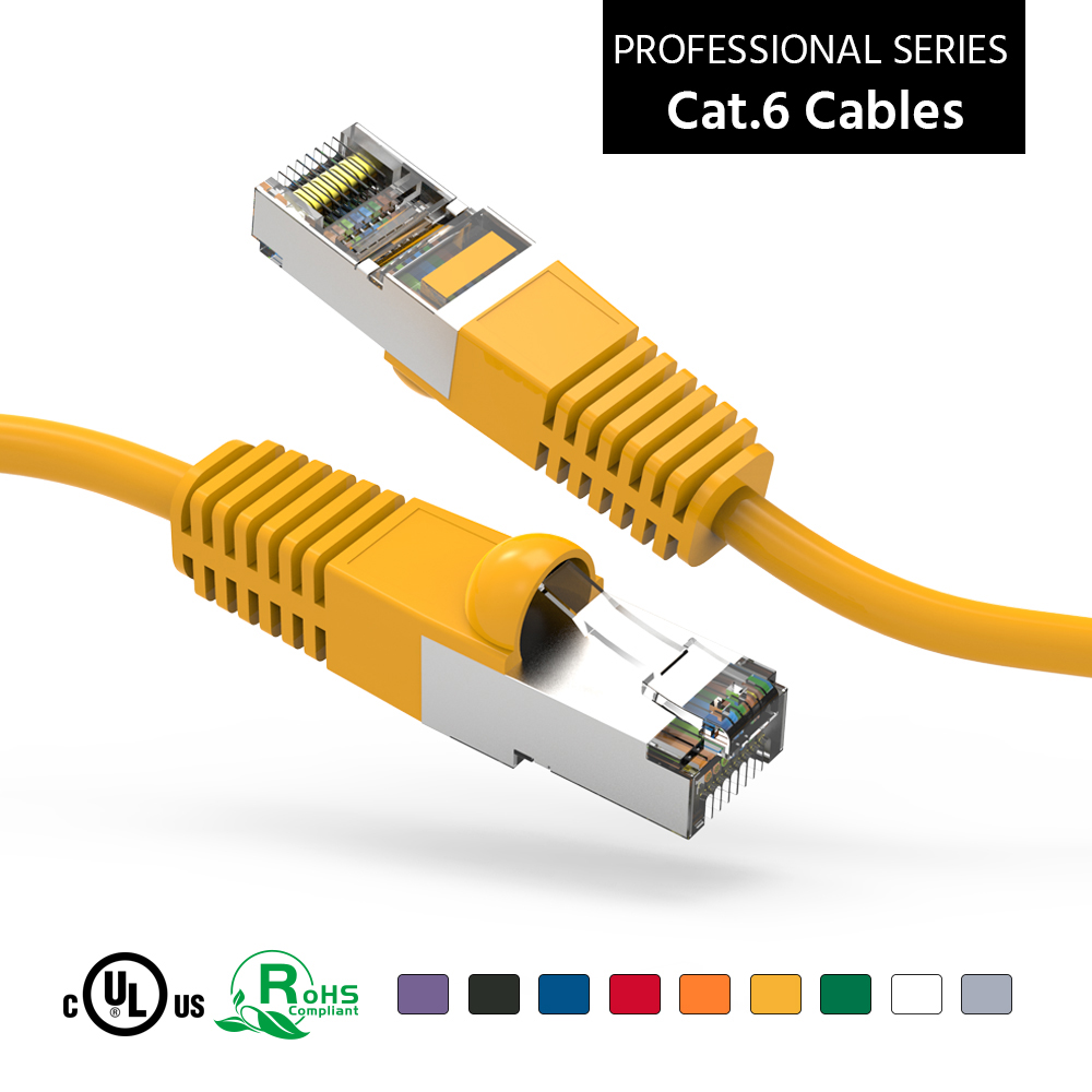 100Ft Cat6 Shielded (SSTP) Ethernet Network Booted Cable Yellow