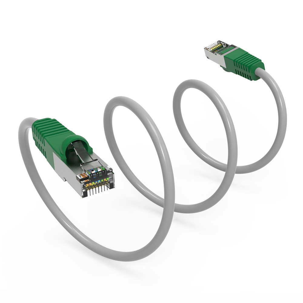BN BESTLINK NETWARE Cat.6 Crossover Cable Gray Wire Green Boot 7Ft 50