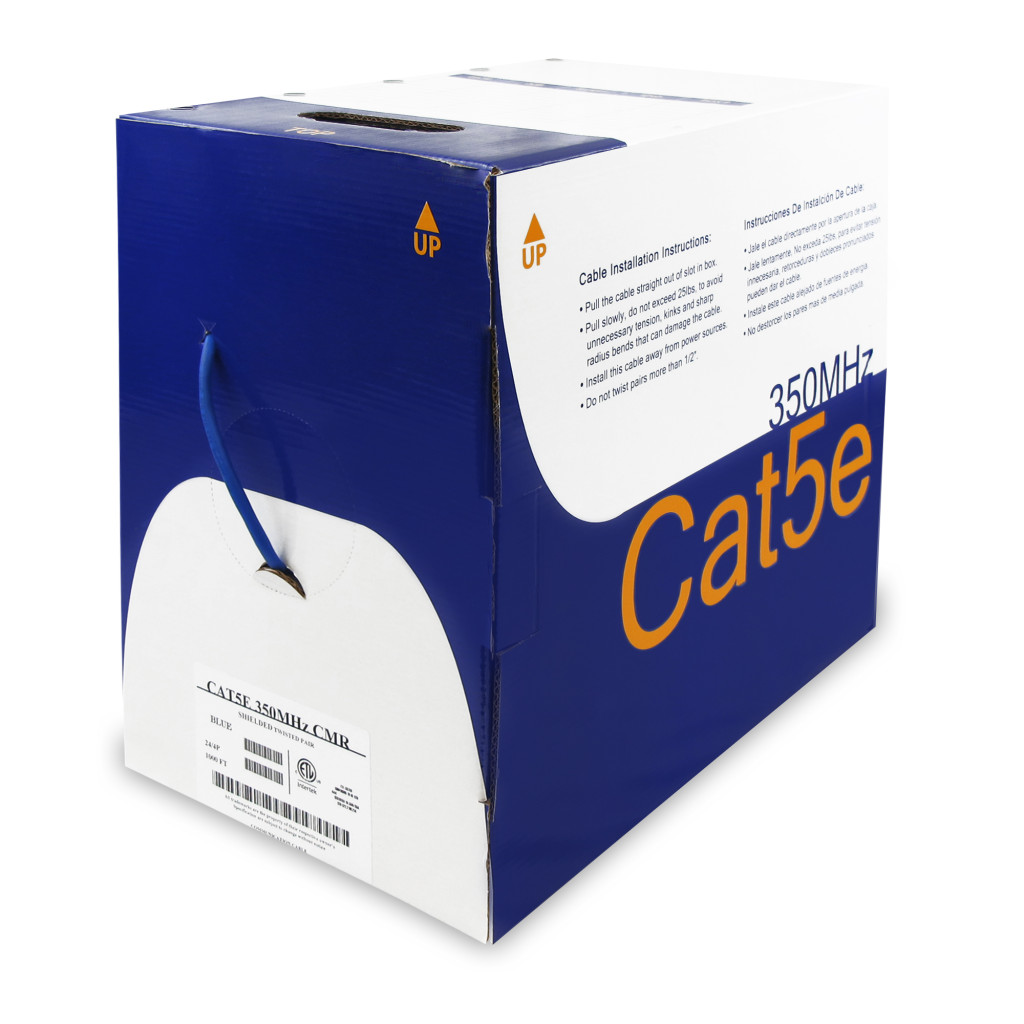 1000Ft Cat.5E Solid Wire Bulk Cable Shielded Blue CMR