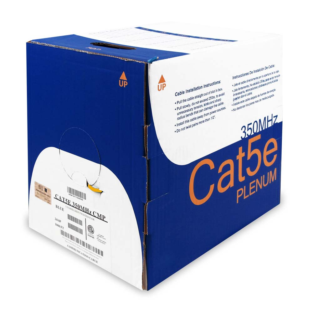 1000Ft Cat.5E Solid Cable Plenum Orange, UL/ETL/CSA