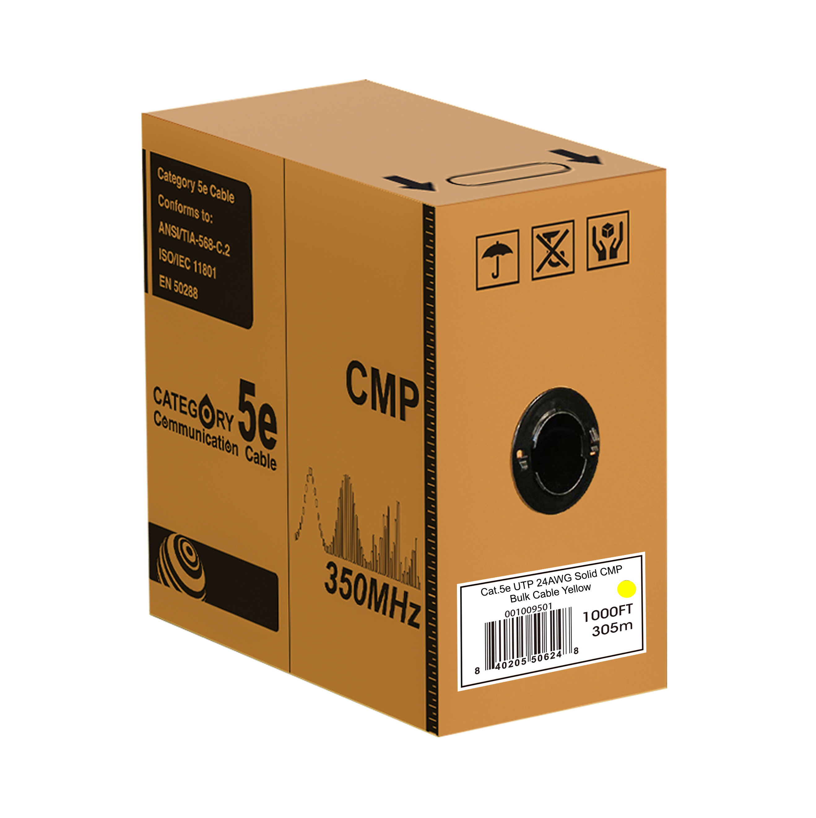 Cat.5e UTP 24AWG Solid CMP bulk cable(yellow), 1000ft REELEX
