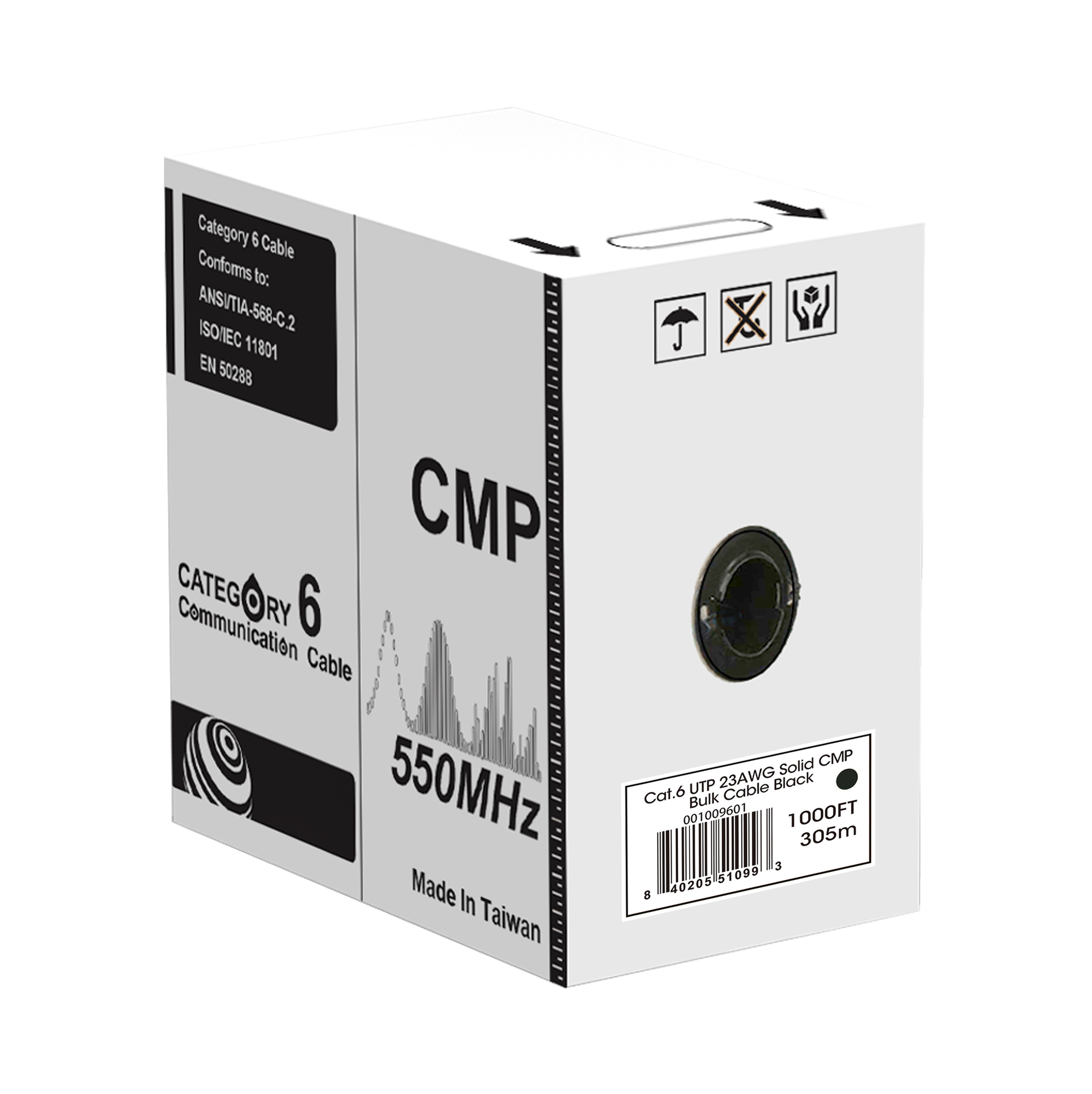 Cat.6 UTP 23AWG Solid CMP bulk cable(black), 1000ft REELEX