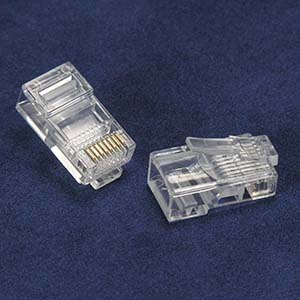 RJ45 Cat.5E Plug Solid 50Micron 3Prong 100pk