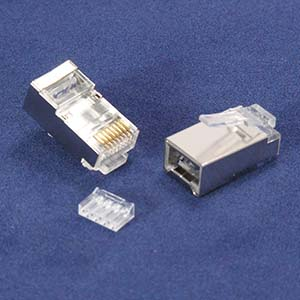 RJ45 Cat.6 Shielded Plug Stranded 50 Micron w/Inserter 100pk