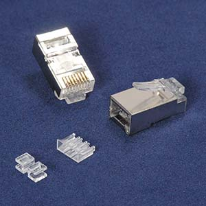 RJ45 Cat.6A Shielded Plug Solid 50 Micron 3pc Type 100pk