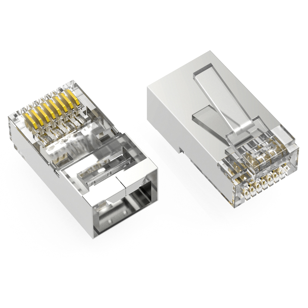 RJ45 Cat.6 STP Feed Through Plug for Solid and Stranded 3-Prong 50 Micron 100pk