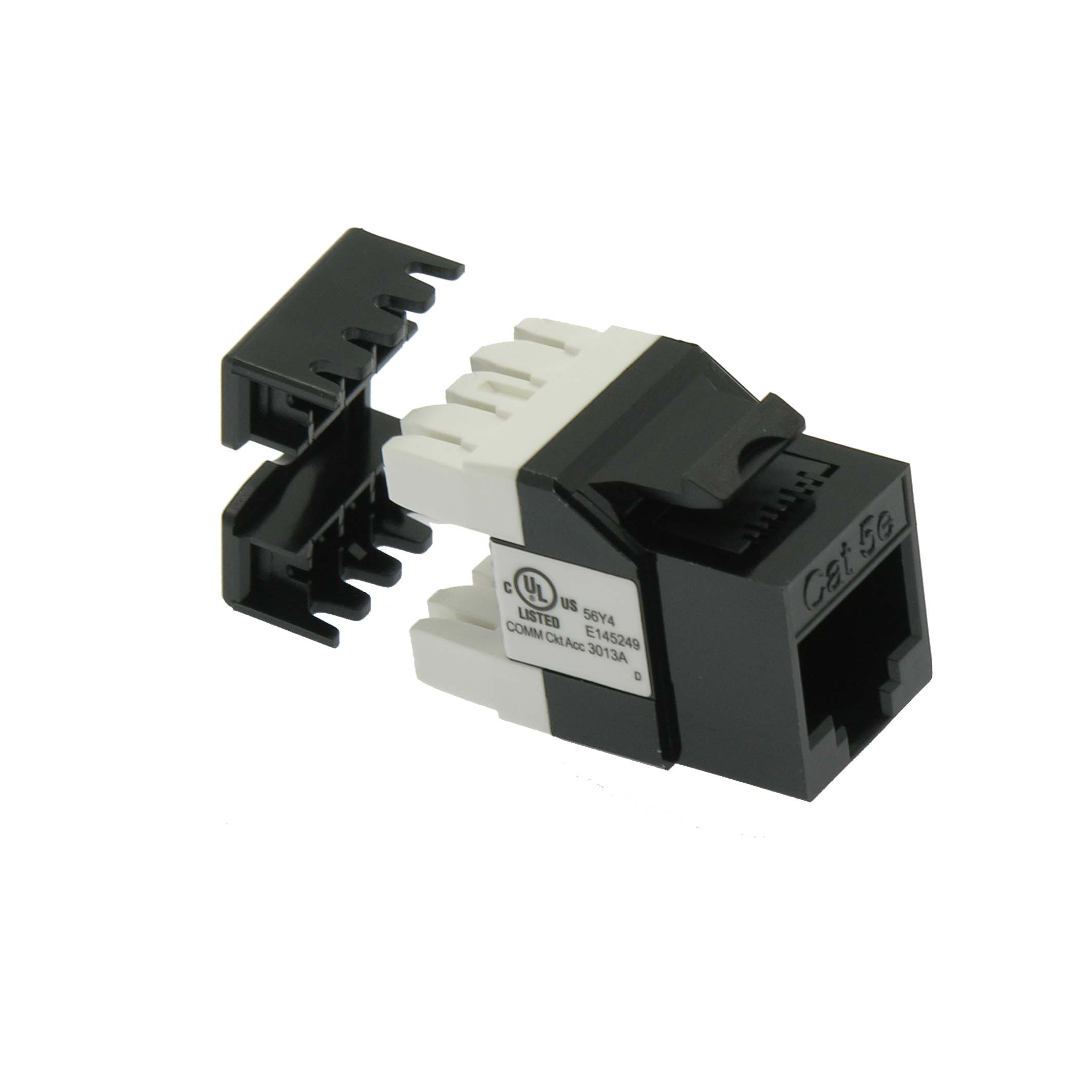 Cat.5E RJ45 110 Type 180° Keystone Jack Black