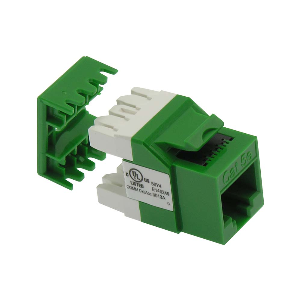 Cat.5E RJ45 110 Type 180° Keystone Jack Green