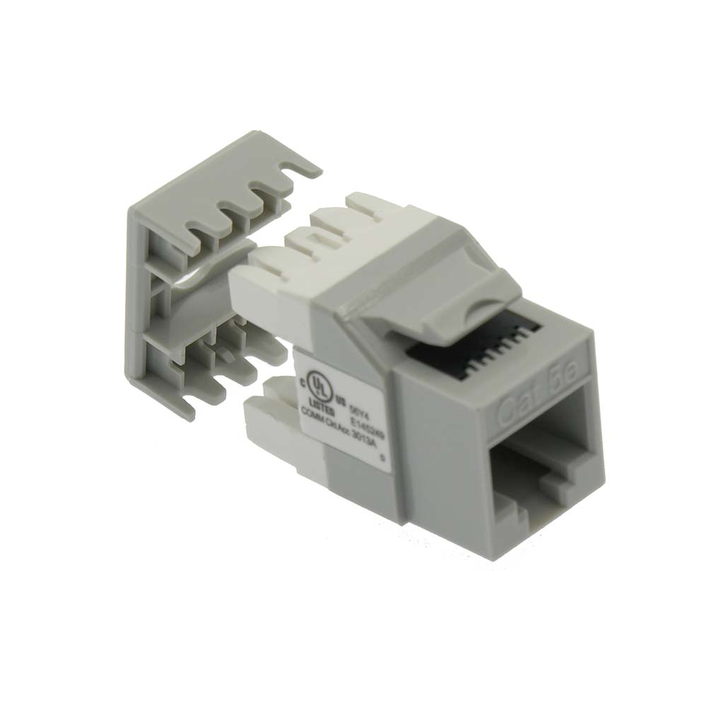 Cat.5E RJ45 110 Type 180° Keystone Jack Gray