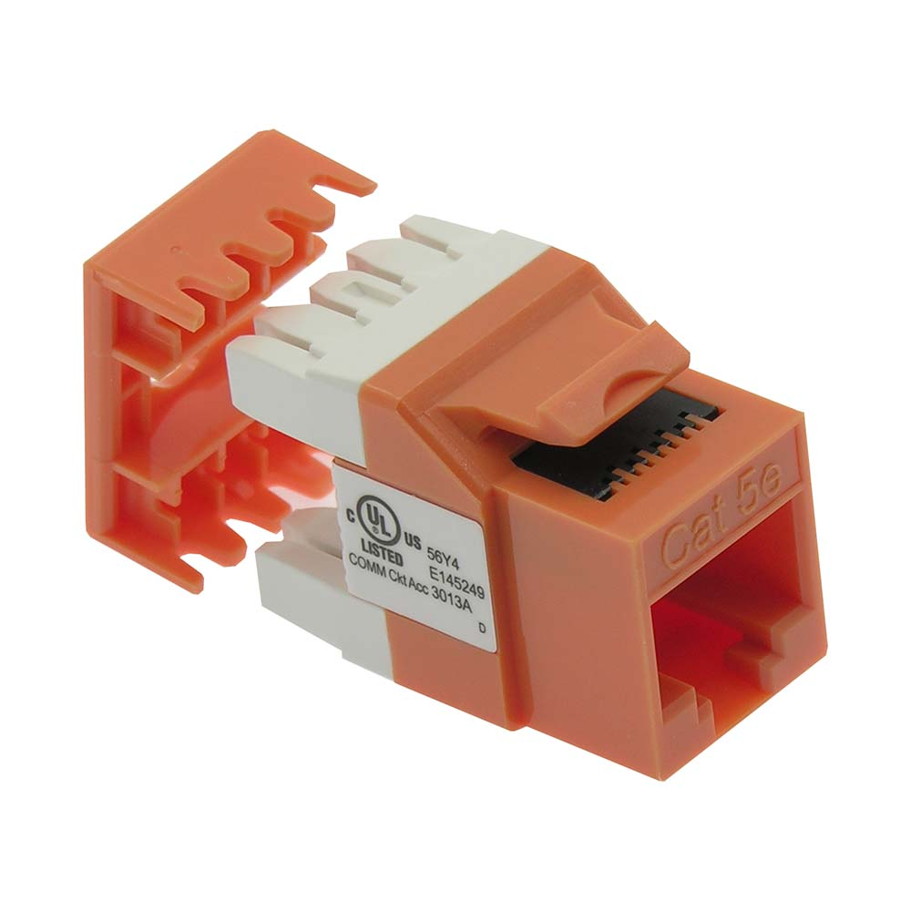 Cat.5E RJ45 110 Type 180° Keystone Jack Orange
