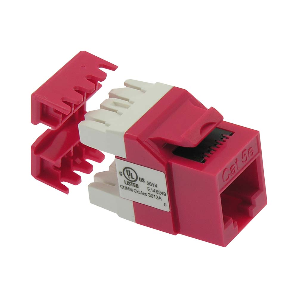Cat.5E RJ45 110 Type 180° Keystone Jack Red