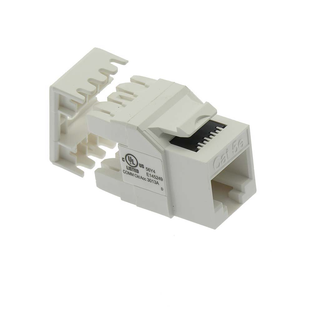 Cat.5E RJ45 110 Type 180° Keystone Jack White