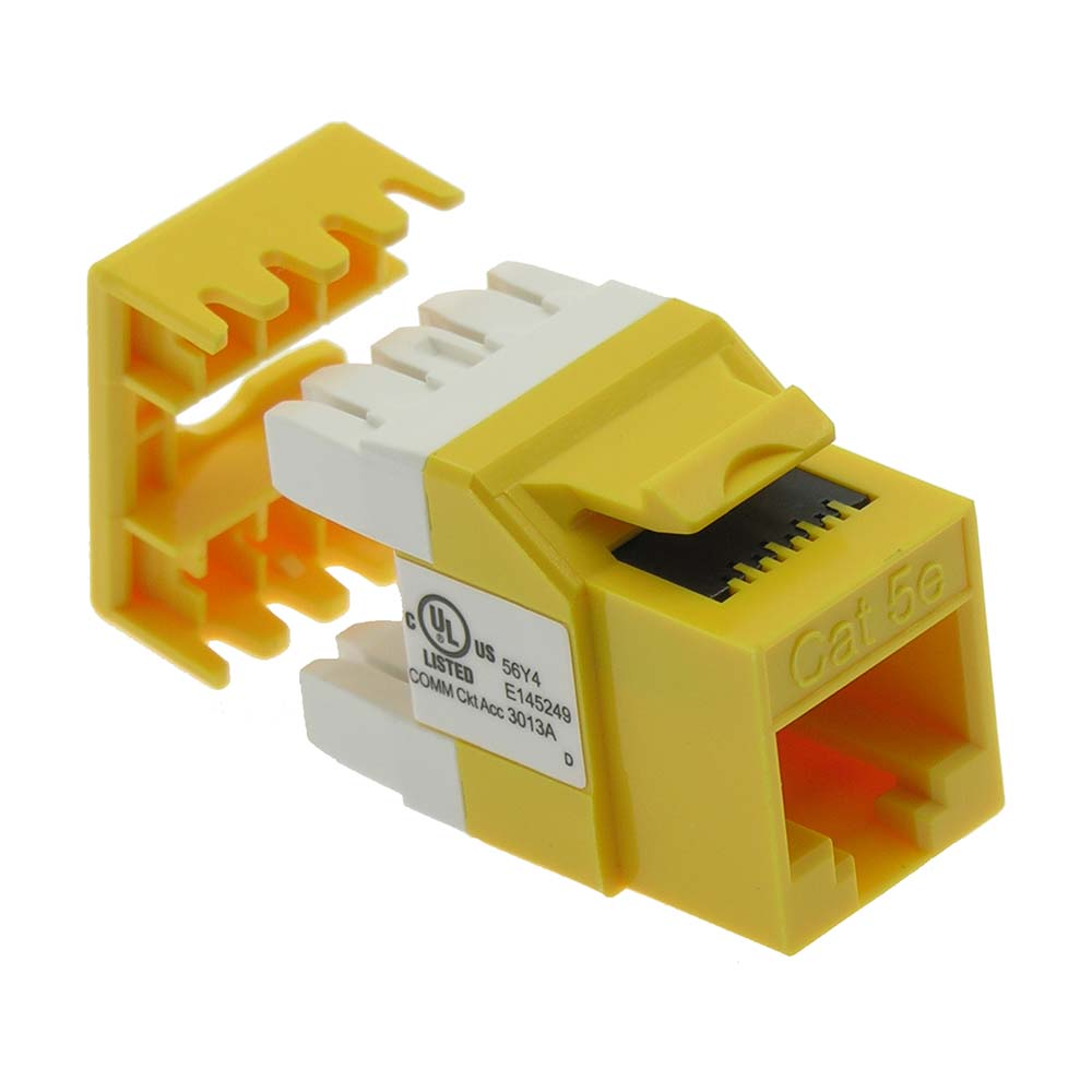 Cat.5E RJ45 110 Type 180° Keystone Jack Yellow