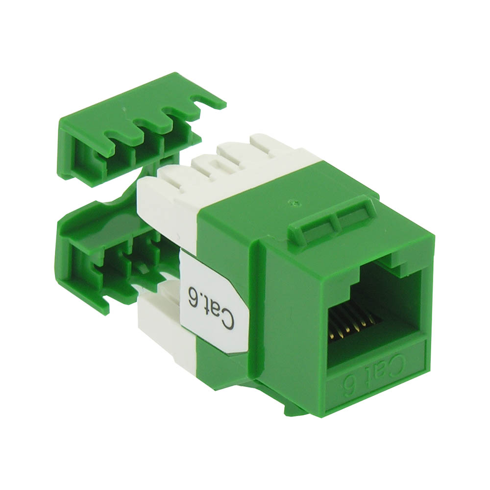 Cat.6 RJ45 110 Type 180° Keystone Jack Green