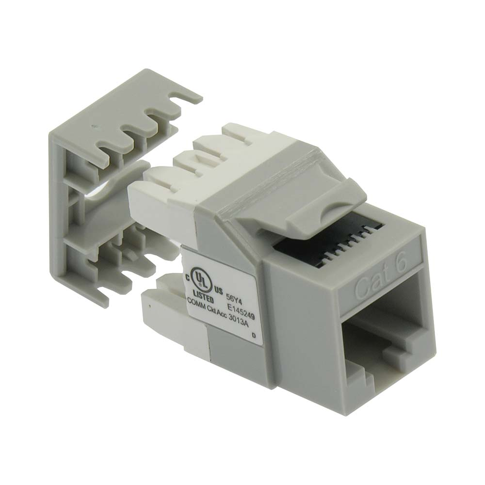 Cat.6 RJ45 110 Type 180° Keystone Jack Gray