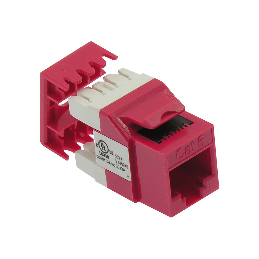 Cat.6 RJ45 110 Type 180° Keystone Jack Red