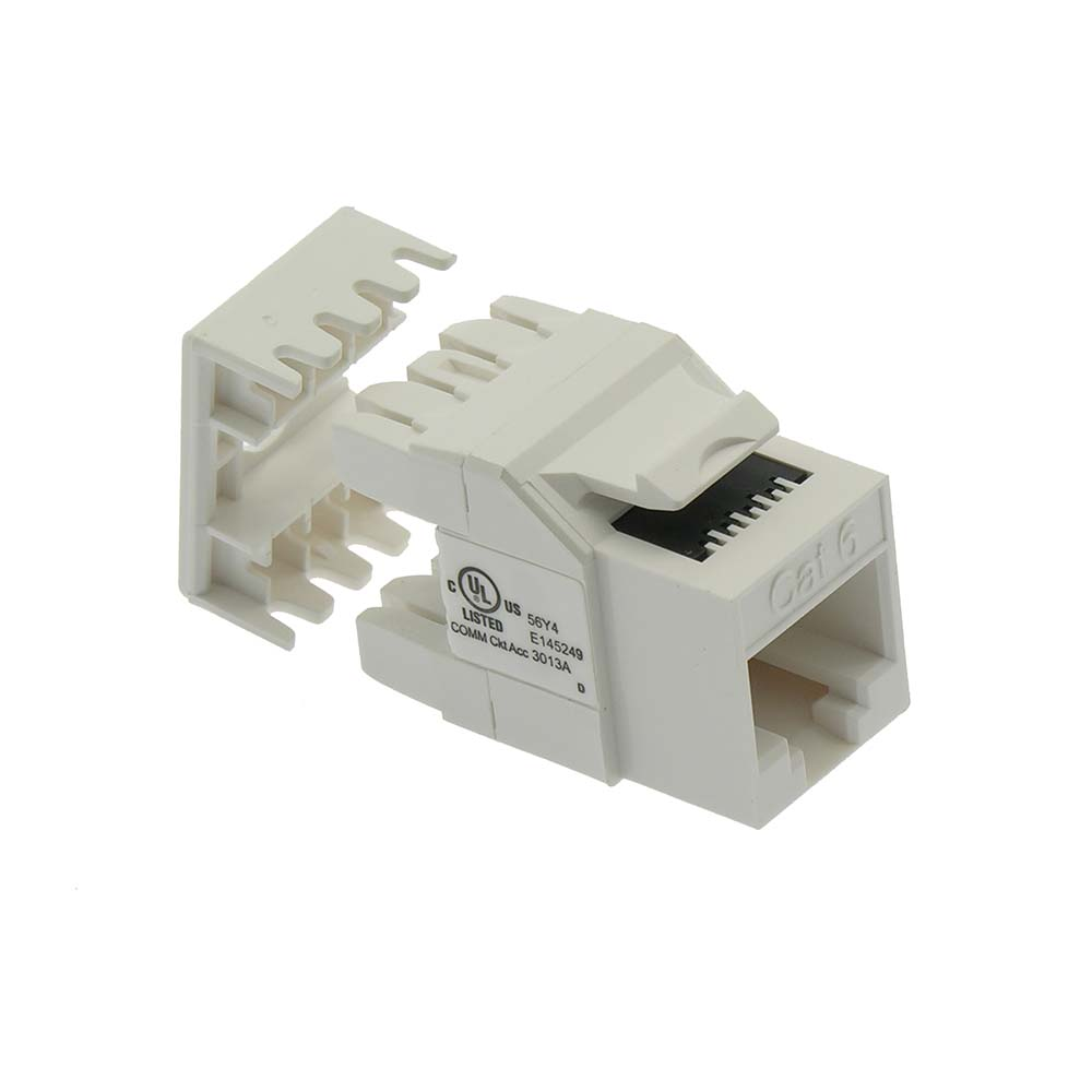 Cat.6 RJ45 110 Type 180° Keystone Jack White