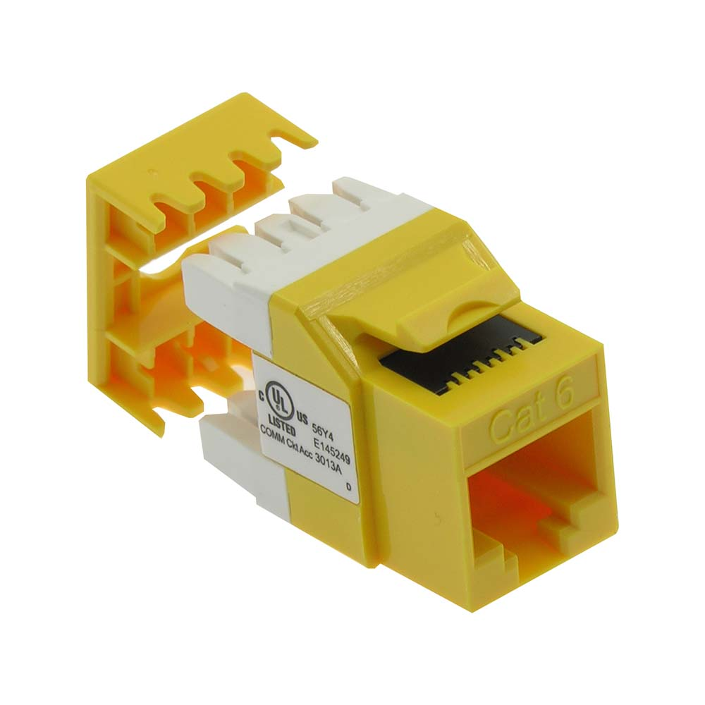 Cat.6 RJ45 110 Type 180° Keystone Jack Yellow