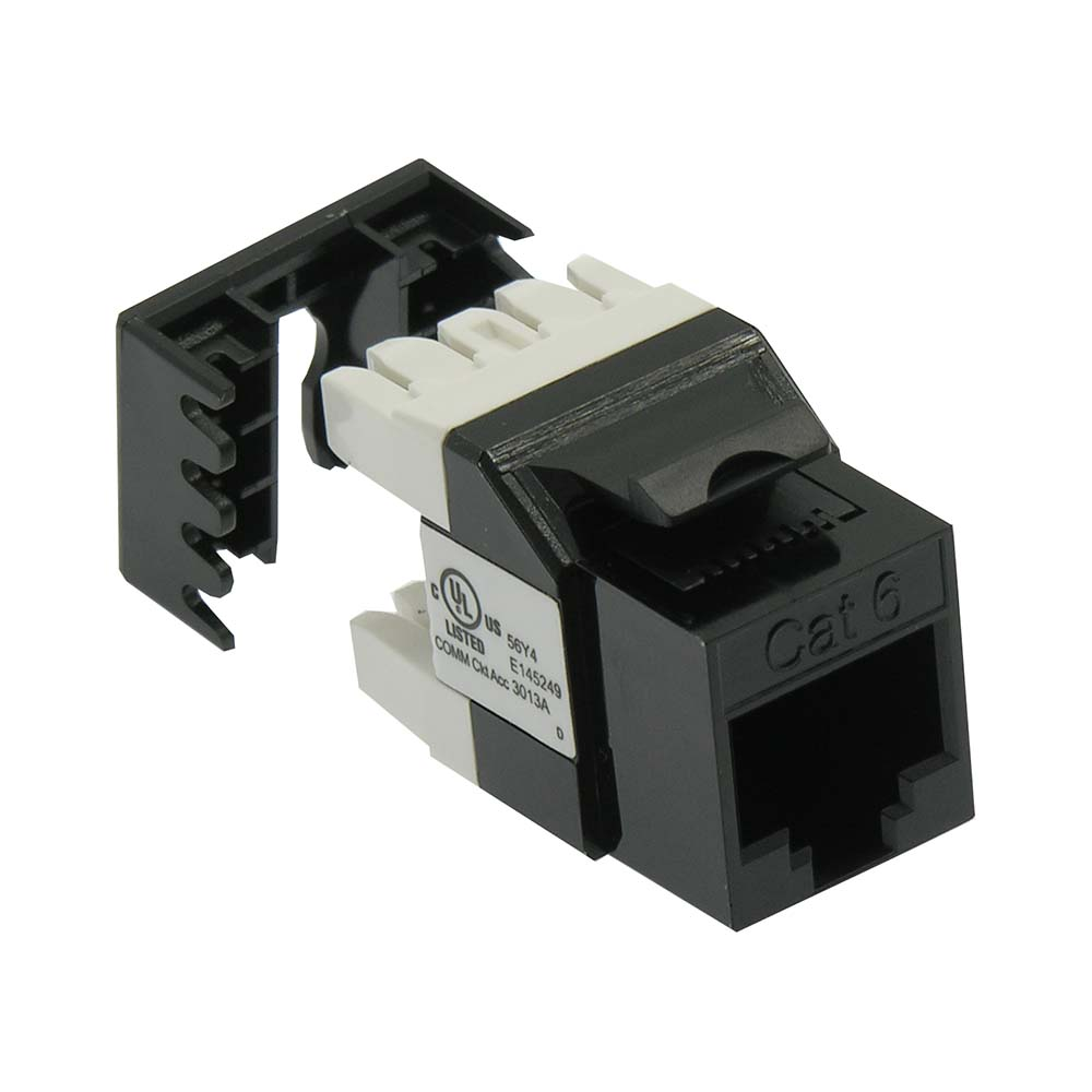 Cat.6 RJ45 110 Type 180° Keystone Jack Black