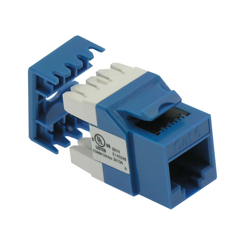 Cat.6 RJ45 110 Type 180° Keystone Jack Blue