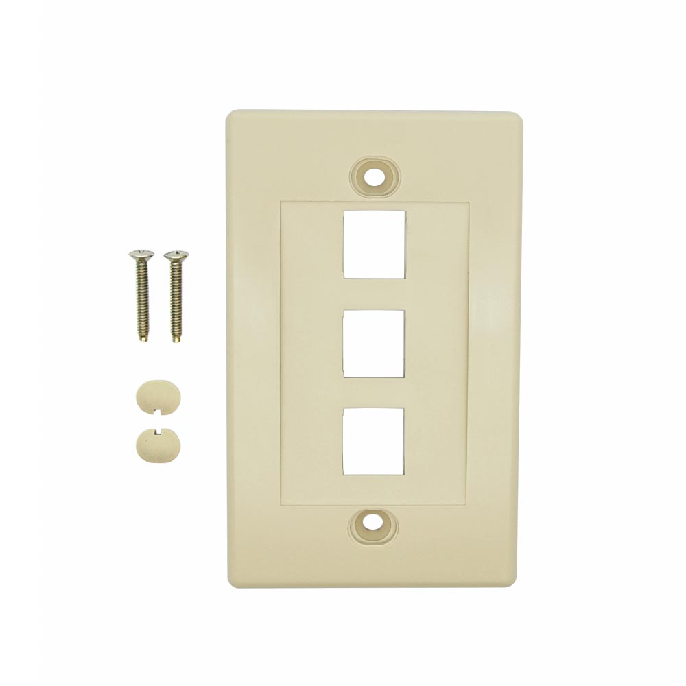 3Port Keystone Wallplate Ivory Decora Type