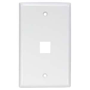 1Port Keystone Wallplate White Smooth Face