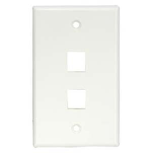 2Port Keystone Wallplate White Smooth Face