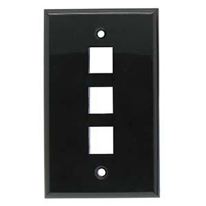 3Port Keystone Wallplate Black Smooth Face