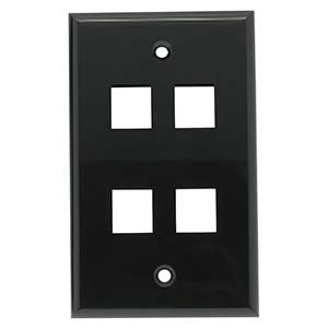 4Port Keystone Wallplate Black Smooth Face