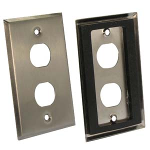 2-Port Single Gang Stainless Steel Wallplate with Water Seal