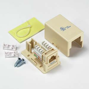 Cat.5E 1Port Surface Mount Box Ivory w/Jack