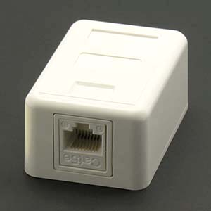 Cat.5E 1-Port Surfacemount Box White w/keystone Jack
