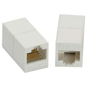 Cat.5E RJ45 Inline Crossover Coupler White