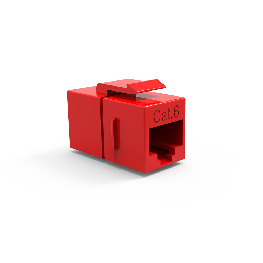 Cat.6 Inline Coupler w/Keystone Latch Red
