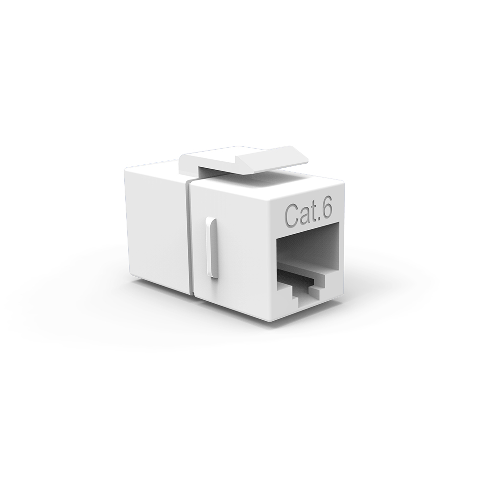 Cat.6 Inline Coupler w/Keystone Latch White